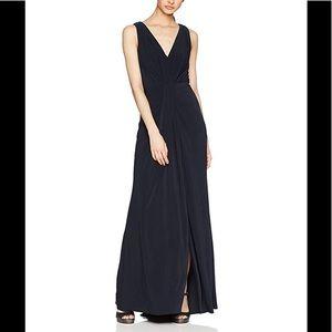 Vera Wang deep v neck navy gown NWT